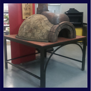 Wrought iron pizza stand