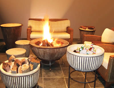 Bluestone Setting - Boma Fire-Pit, Wood Bowl, Ice Basin, Stools