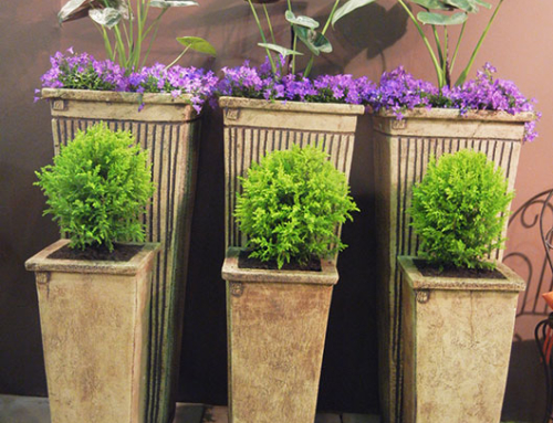 Stonecraft Tallboy Planters – Large Stripe at the back – Small Plain in front